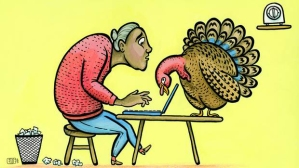 woman writing with turkey