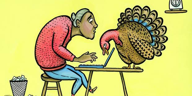 woman writing with turkey